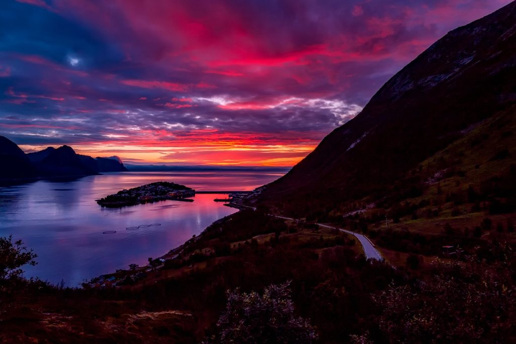 norway, sunset, dusk